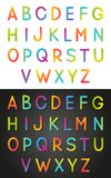 Set of vibrant color Alphabet on white and dark. Backgrounds Stock Photo