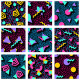 Set of vibrant geometric patterns Royalty Free Stock Photo
