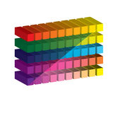 Set of vibrant glossy 3D cubes. . Stock Photography