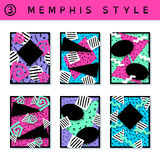 Set of vibrant 80`s banners. 6 vibrantly colorful memphis style covers with geometric shapes. US Letter size. Easily croppable to A4 size. Graphics are grouped Stock Photos