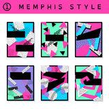 Set of vibrant 80`s banners. 6 vibrantly colorful memphis style covers with geometric shapes. US Letter size. Easily croppable to A4 size. Graphics are grouped Stock Photo