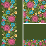 Set of vibrant summer plants seamless pattern and Stock Photography