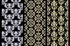 Set of 3 Victorian seamless pattern. Isolated on black - for textile designers maybe useful Stock Photo