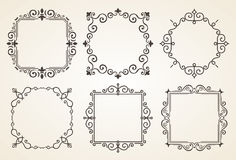 Set of Victorian Vintage Decorations Elements and Frames. Flourishes Calligraphic Ornaments and Frames. Retro Frame vector illustration