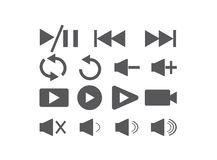 Set of video icons for logo design illustrator, play and pause and repet symbol vector illustration