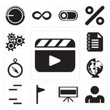 Set of Video player, User, Television, Flag, Lines, Worldwide, C. Set Of 13 simple editable icons such as Video player, User, Television, Flag, Lines, Worldwide royalty free illustration