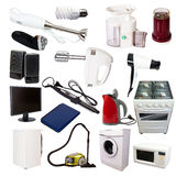 Set vieler Haushaltsgeräte Stockfoto