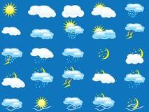 Set vieler Wetterikonen lizenzfreie abbildung