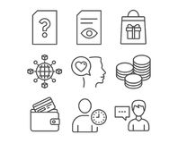 View document, Unknown file and Tips icons. Holidays shopping, Time management and Debit card signs. Set of View document, Unknown file and Tips icons. Holidays Royalty Free Stock Images
