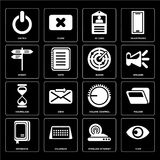 Set of View, Wireless internet, Notebook, Volume control, Hourgl. Set Of 16 icons such as View, Wireless internet, Calendar, Notebook, Folder, Switch, Street Stock Illustration