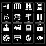 Set of View, Worldwide, Radar, Note, Upload, Street, Locked, Bin. Set Of 16 icons such as View, Worldwide, Television, Radar, Locked, Exit, Upload, Street, web Stock Illustration