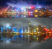 Set from views of Hong Kong and Financial district Royalty Free Stock Images