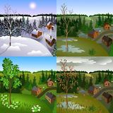 Set of views of landscape town from hill. Set of views of same landscape town from hill. Winter, srping, summer, autumn, day stock illustration