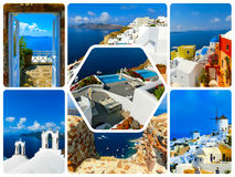 The set from views in Oia, Santorini, Greece Royalty Free Stock Image