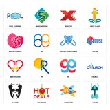 Set of viking, childcare, vikings, gg, senior care, fishing tournament, beauty parlor, xfactor, pool company icons. Set Of 16 simple  icons such as viking Royalty Free Stock Photos