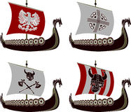 Set of viking drakkars Royalty Free Stock Photos