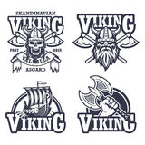 Set of viking emblems. Labels and logos. Monochrome style Stock Photo