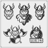Set of viking emblems. Warriors a viking helmet. Vintage style. Black and white Stock Photography