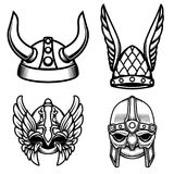 Set of viking helmets isolated on white background. Design element for logo, label,sign. Vector image Royalty Free Stock Photography