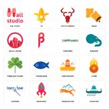 Set of viking ship, mountain lion, lacrosse, cinco de mayo, three leaf clover, commando, social justice, cattle company, nail stud. Set Of 16 simple  icons such Royalty Free Stock Photography