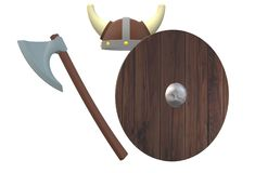 A set of Viking warrior armor with helmet, shield and battle axe. A computer generated illustration image of a set of Viking warrior armor with helmet, shield royalty free illustration