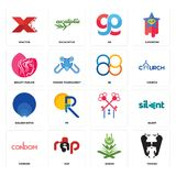 Set of vikings, quran, condom, , golden ratio, 88, beauty parlor, gg, xfactor icons. Set Of 16 simple  icons such as vikings, quran, rap, condom, silent, xfactor Royalty Free Stock Image