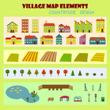 Set of village elements in flat style. For design or map including houses, field, trees, lake with fish and fountain Stock Photos