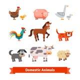Set of village farm domestic animals Stock Photo