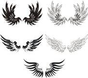 set vingar för grunge Arkivbilder