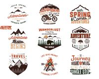 Set of Vintage adventure tee shirts designs. Hand drawn travel labels. Mountain explorer, wanderlust, expedition emblems. Quotes in retro colors style.Isolated Vector Illustration