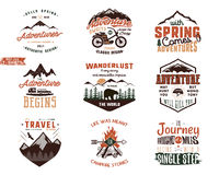 Set of Vintage adventure tee shirts designs. Hand drawn travel labels. Mountain explorer, wanderlust, expedition emblems. Quotes in retro colors style Royalty Free Illustration