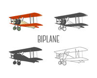 Set of vintage aircraft design elements. Retro Biplanes in color, line, silhouette, monochrome designs. Aviation symbols. Biplane emblem. Old style planes Stock Images