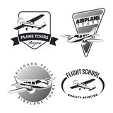 Set of vintage airplane emblems and icons. Set of vintage airplane emblems, badges and icons Royalty Free Stock Images