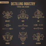 Set of vintage alcohol drink symbols with ethnic elements in thin line style. Stock Images