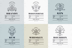 Set of vintage alcohol label design with ethnic elements in thin line style royalty free illustration