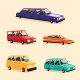 Set of vintage american automobile. Cartoon vector illustration. Car . vector illustration