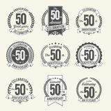 Set of Vintage Anniversary Badges 50th Year Celebration. Stock Photography