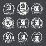 Set of Vintage Anniversary Badges 50th Year Celebration. Stock Photos