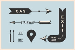 Set of vintage arrows and banners with inscription Exit, Way Out, Gas, Stairway Stock Photography