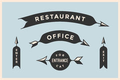 Set of vintage arrows and banners with inscription Restaurant, Office Royalty Free Stock Photography