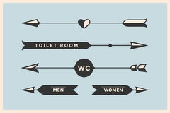 Set of vintage arrows and banners with inscription WC, Toilet room Stock Images