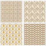 A set of vintage art deco square frames in nostalgic colors with simple geometric patterns Stock Image