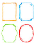 Set vintage artistic frames. Watercolor background. Vector illustration. Drawing by hand Stock Photography