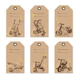 Set vintage baby transport gift card. Hand drawn design Stock Photography