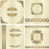 Set of vintage backgrounds with frames Stock Photography