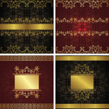 Set of vintage backgrounds with frames Stock Images