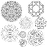 Set of Vintage backgrounds, Guilloche ornamental circle Royalty Free Stock Photo