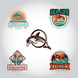Set vintage badge with dolphin drawn by hand. Stock Photo