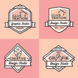 Set of vintage badges, banners, label, ribbon and logos template vector for business and shop Royalty Free Stock Images