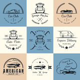 Set of vintage badges car club and garage. Set of vintage car club, drift club, auto parts and garage labels, badges and design elements. Badges trucks, vintage Stock Photo